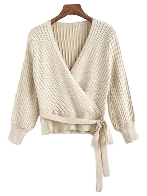 'Kristan' Ribbed Wrap Tied Sweater