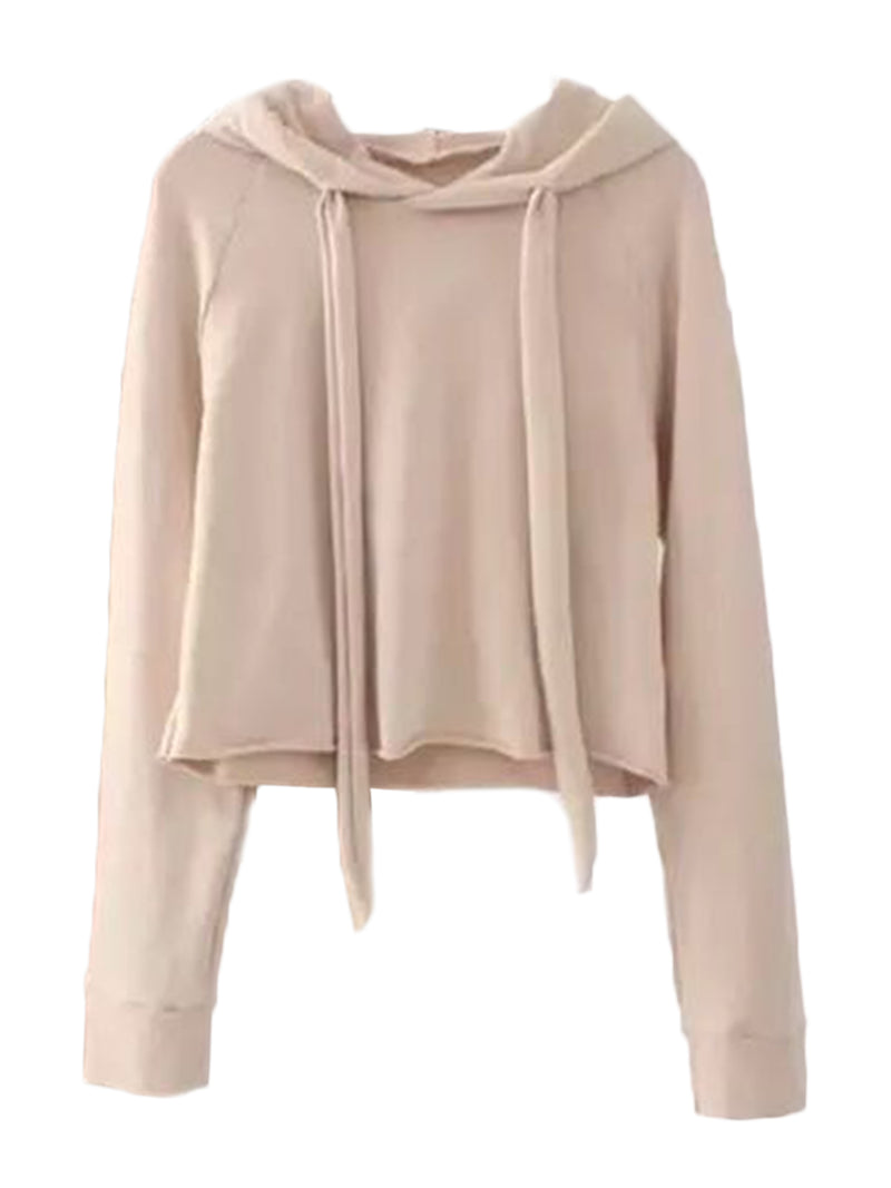 'Sibella' Cropped Hoodie and Cuffed Bottoms Loungewear Set Dusty Pink Top Front Goodnight Macaroon