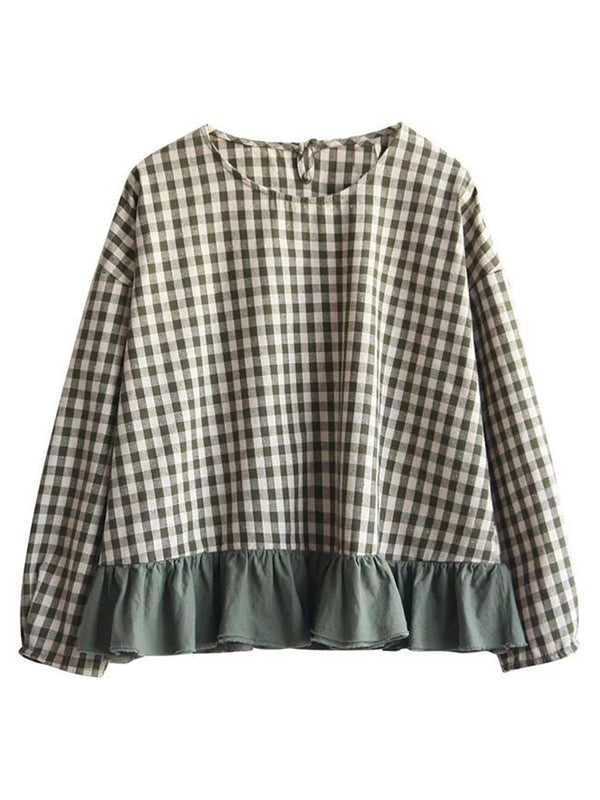 'Mina' Gingham Peplum Top (2 Colors)