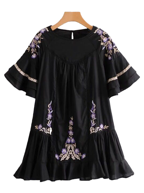 'Juliette' Embroidered Ruffle Dress (2 Colors)