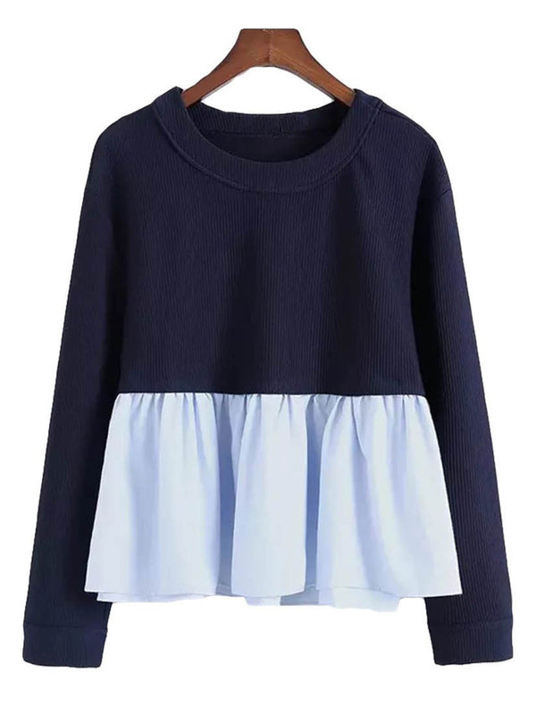 'Margaret' Mock Layer Navy Peplum Crewneck Sweater