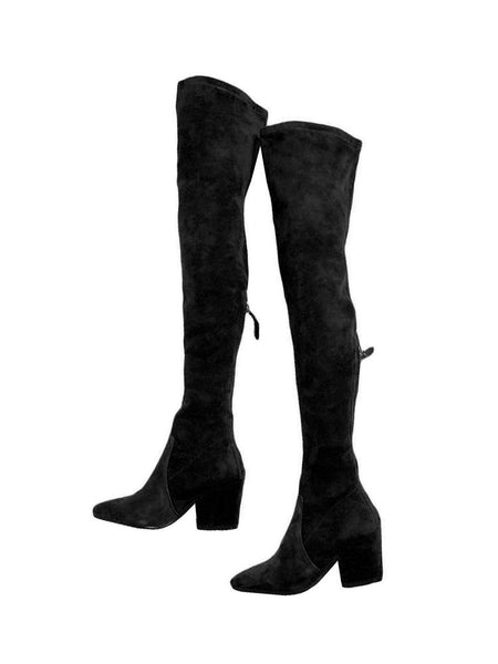 'ellis' Black Classic Over The Knee Suede Leather Boots by Goodnight Macaroon