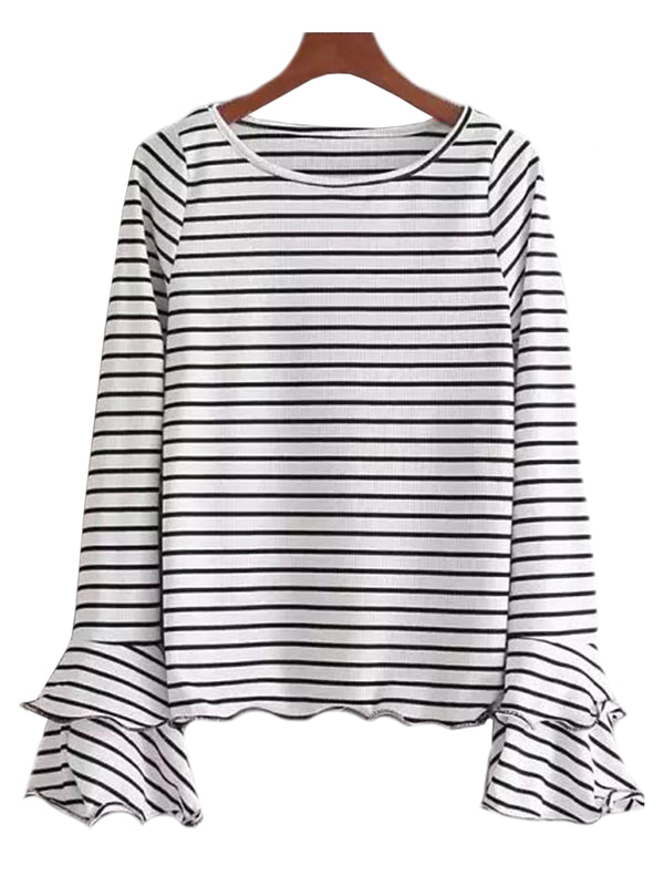 'Margot' Ruffle Sleeve Striped Top