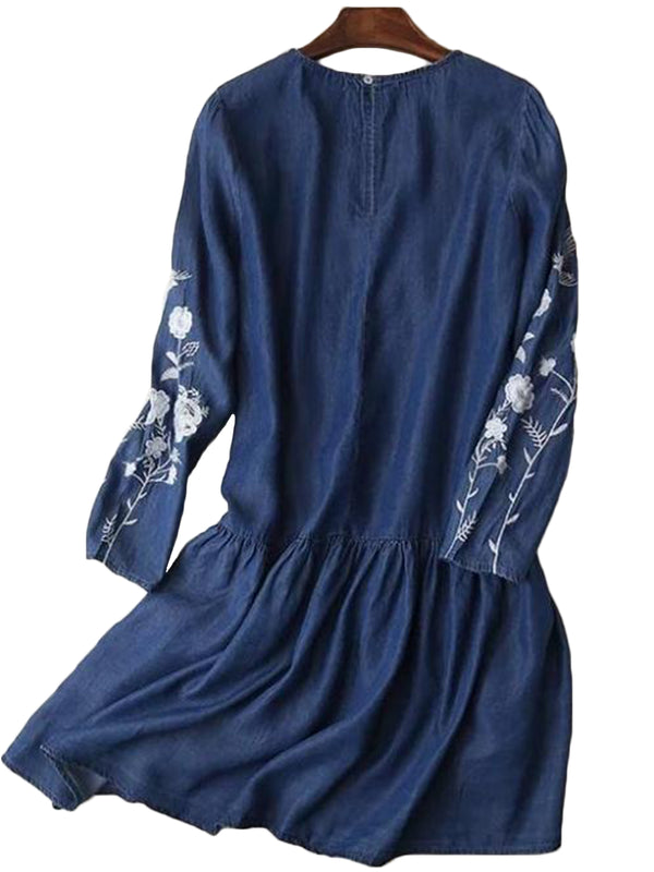'Helena' Embroidered Dark Blue Chambray Dress