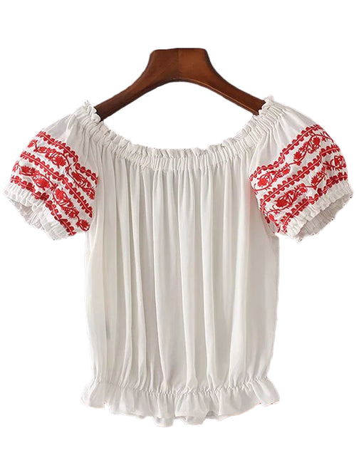 'Madera' Red Embroidered Frilly Off Shoulder Top