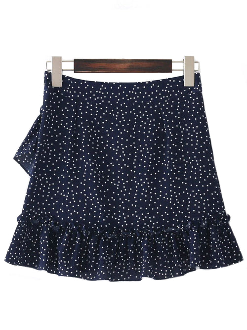 'Kitty' Ruffle Frilly Polka Dot Mini Skirt