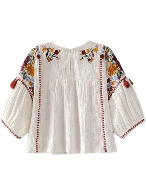 'Valencia' Embroidered Tassels Boho Top