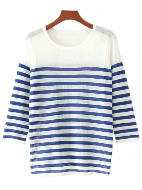 'Melva' Blue Stripe Thin Top