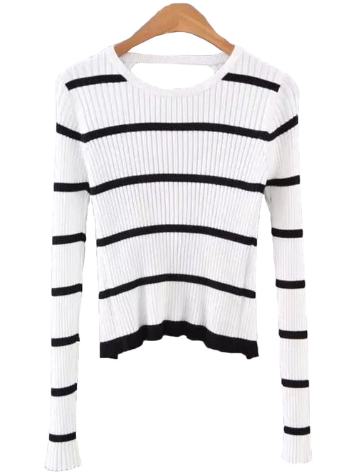 'Minda' Back Cut Out Stripe Knit Top