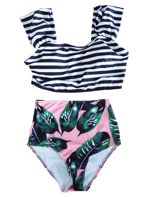 'Willena' Palm Tree Print and Striped Print Two-Piece Swimsuit