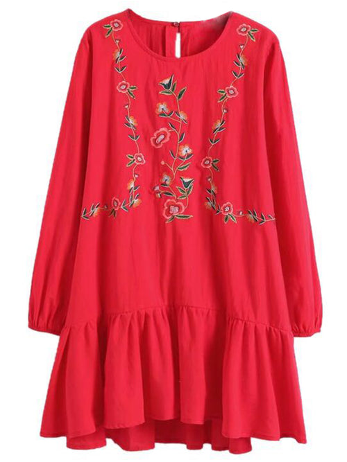 'Theresa' Embroidered Peplum Dress