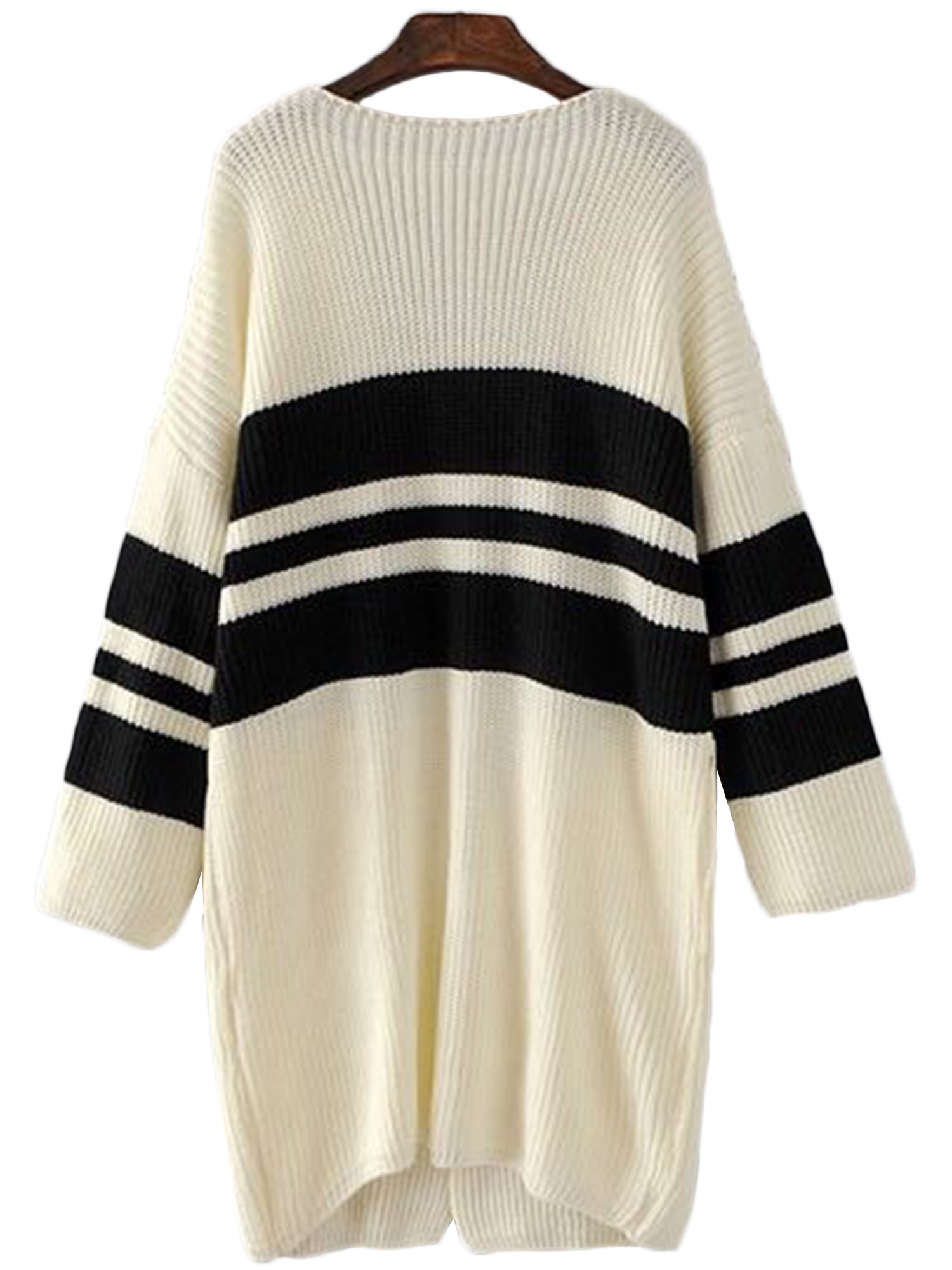'Lois' Contrast Block Open Wrap Cardigan