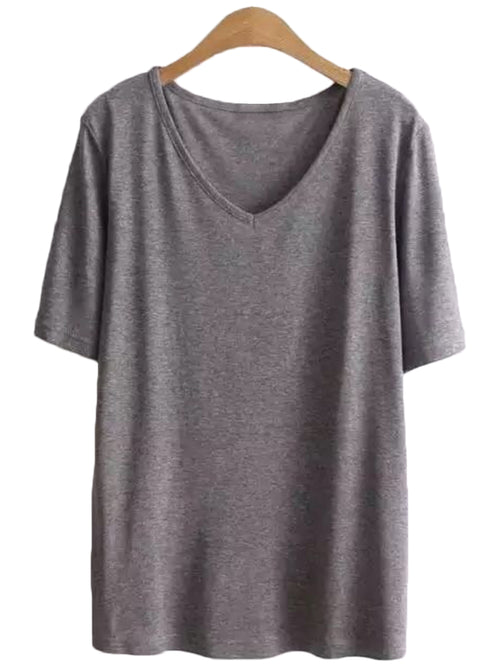 'Sander' V-neck Basic Cotton Tee ( 3 Colors )