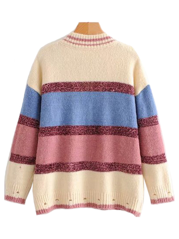 Goodnight Macaroon 'Polly' Metallic Stripe Color Block V-Neck Sweater Back