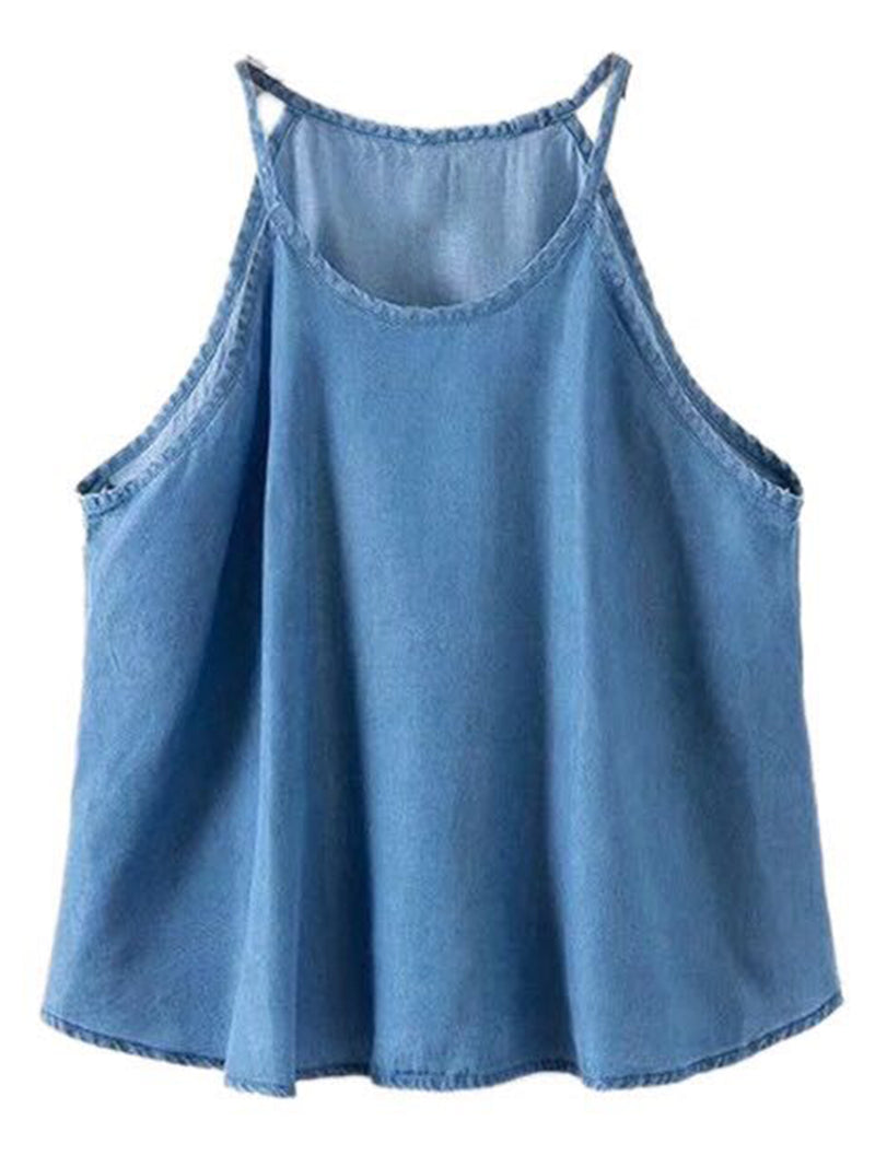 'Myra' High-neck Chambray Top