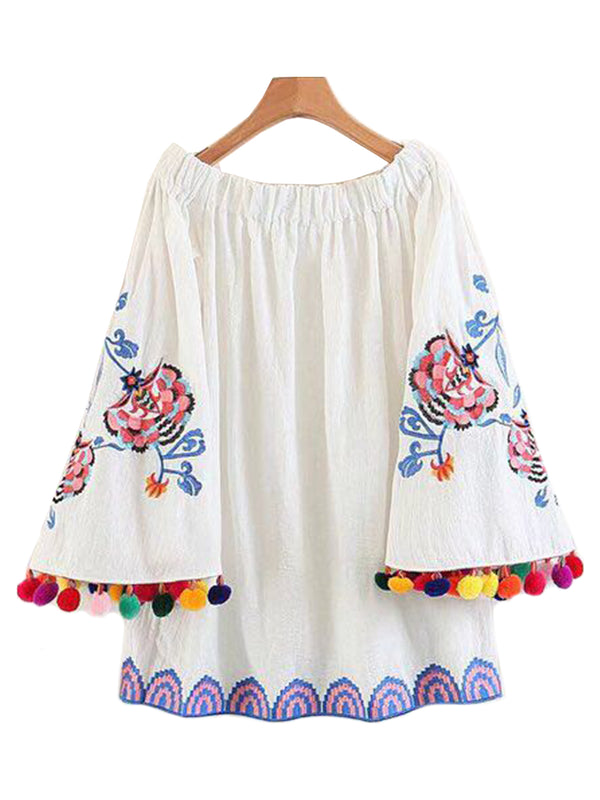 'Serenity' Off Shoulder Pom Pom Embroidered Tunic Dress