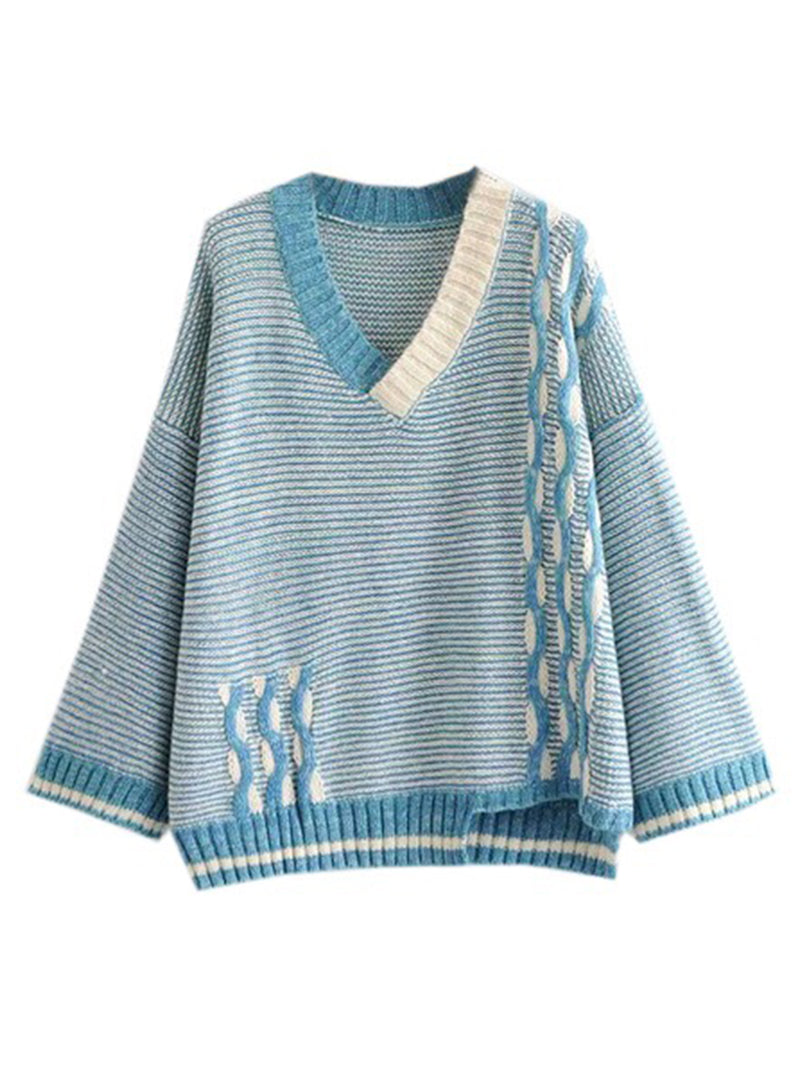 Goodnight Macaroon 'Ruby' Knitted Striped V Neck Sweater Blue Front