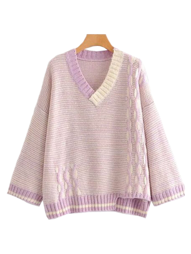 Goodnight Macaroon 'Ruby' Knitted Striped V Neck Sweater Pink Front