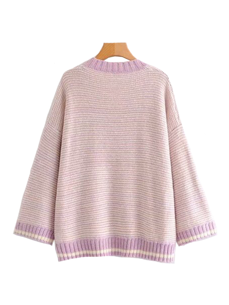 Goodnight Macaroon 'Ruby' Knitted Striped V Neck Sweater Pink Back