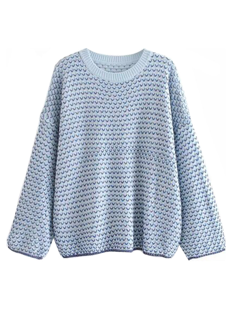 Goodnight Macaroon 'Michelle' Mixed Knit Crew Neck Sweater Sky Blue Front