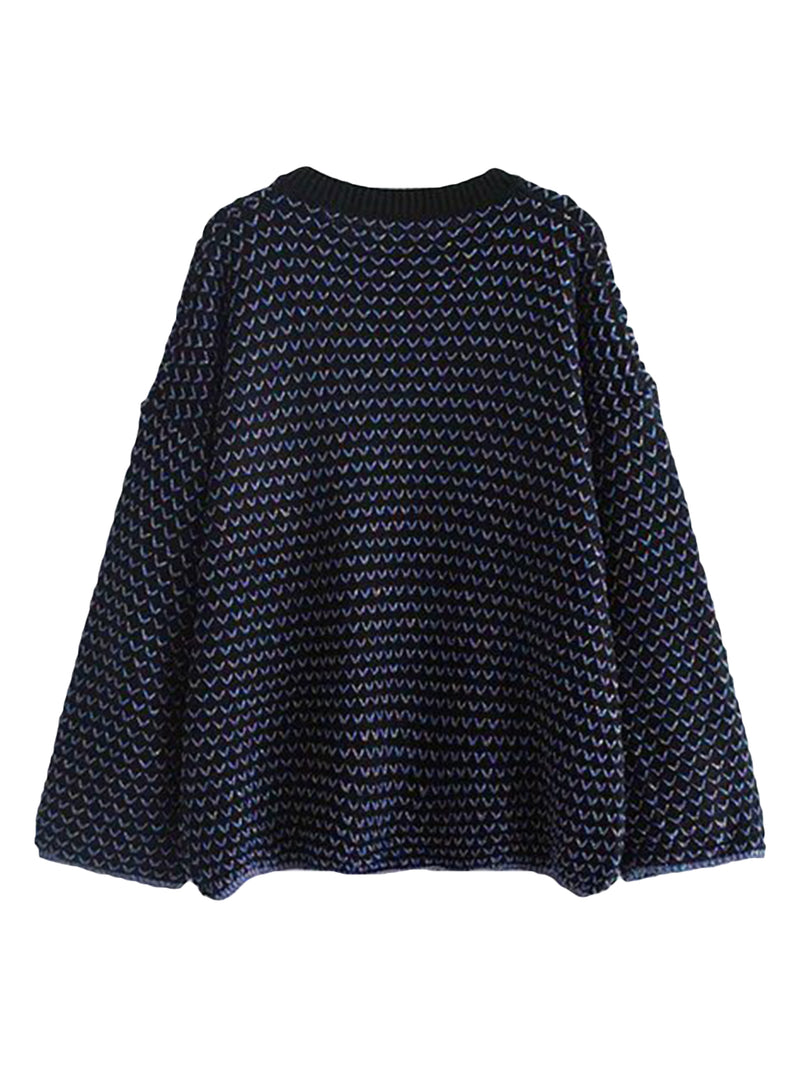 Goodnight Macaroon 'Michelle' Mixed Knit Crew Neck Sweater Navy Blue Back