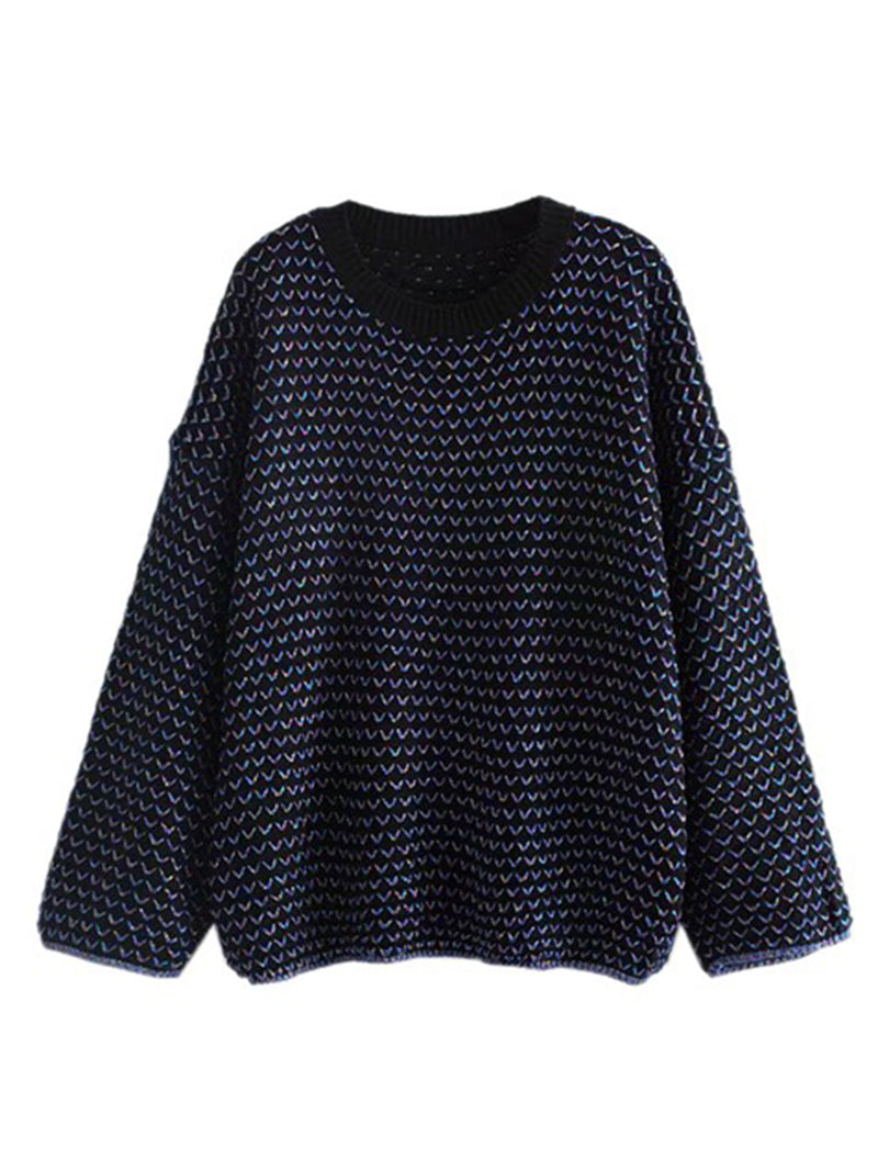 Goodnight Macaroon 'Michelle' Mixed Knit Crew Neck Sweater Navy Blue Front