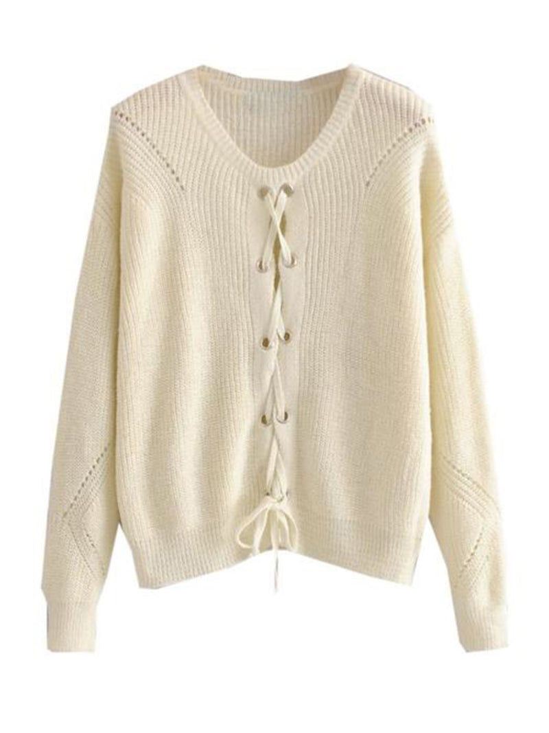 Goodnight Macaroon 'Jess' Rib-Knitted Lace-Up Sweater Front