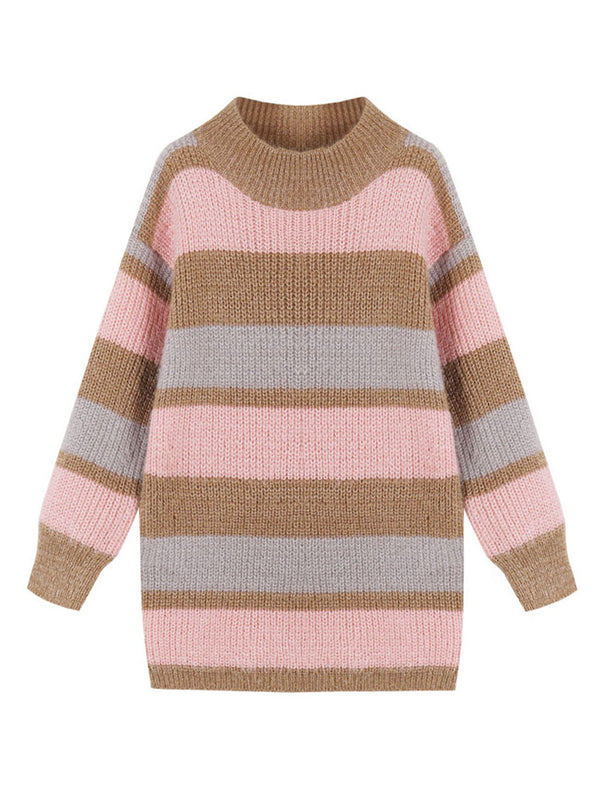 Goodnight Macaroon 'Daria' Color Block Fluffy Sweater Pink Front
