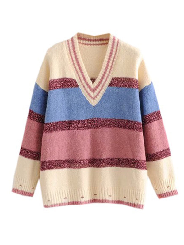 Goodnight Macaroon 'Polly' Metallic Stripe Color Block V-Neck Sweater Front