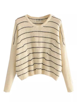 Goodnight Macaroon 'Lora' Striped Eyelet Cropped Crew Neck Sweater Front