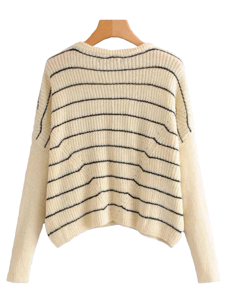 Goodnight Macaroon 'Lora' Striped Eyelet Cropped Crew Neck Sweater Back