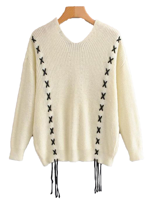 Goodnight Macaroon 'Heidi' Knitted Laced V-Neck Sweater Back