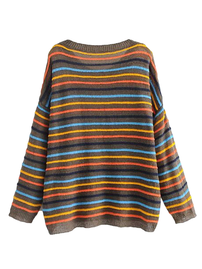 Goodnight Macaroon 'Cindy' Colourful Striped Crew Neck Sweater Brown Back