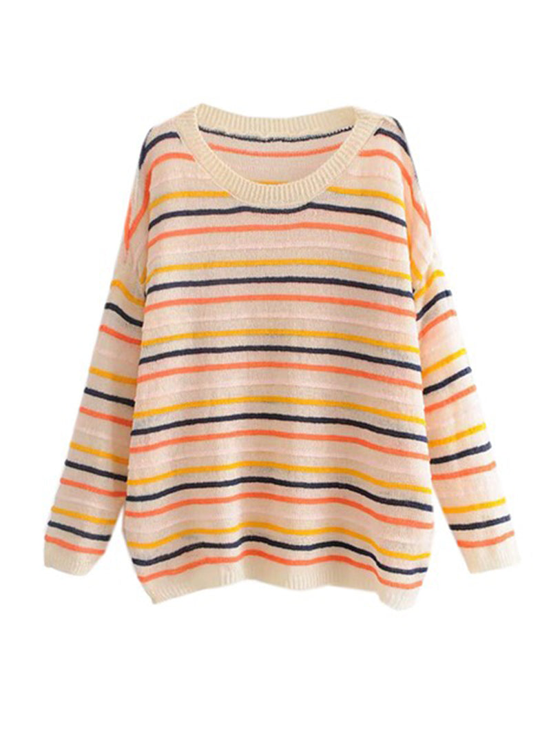 Goodnight Macaroon 'Cindy' Colourful Striped Crew Neck Sweater Beige Front