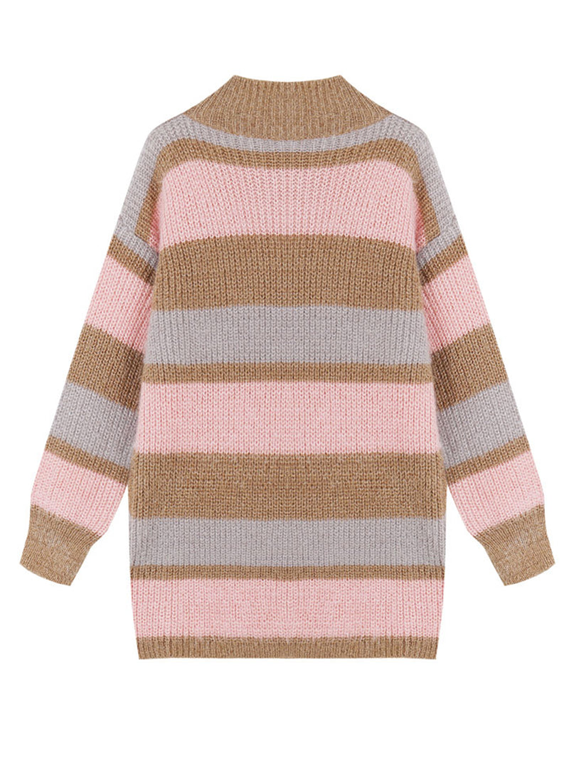 Goodnight Macaroon 'Daria' Color Block Fluffy Sweater Pink Back