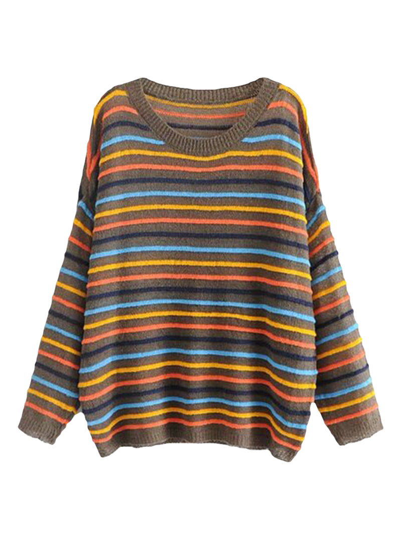 Goodnight Macaroon 'Cindy' Colourful Striped Crew Neck Sweater Brown Front