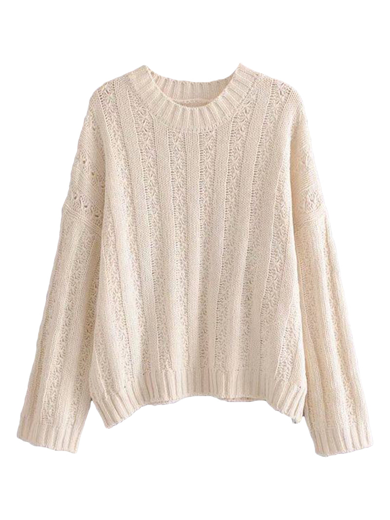 Goodnight Macaroon 'Roxy' Rib-Knitted Crew Neck Sweater Cream White Front