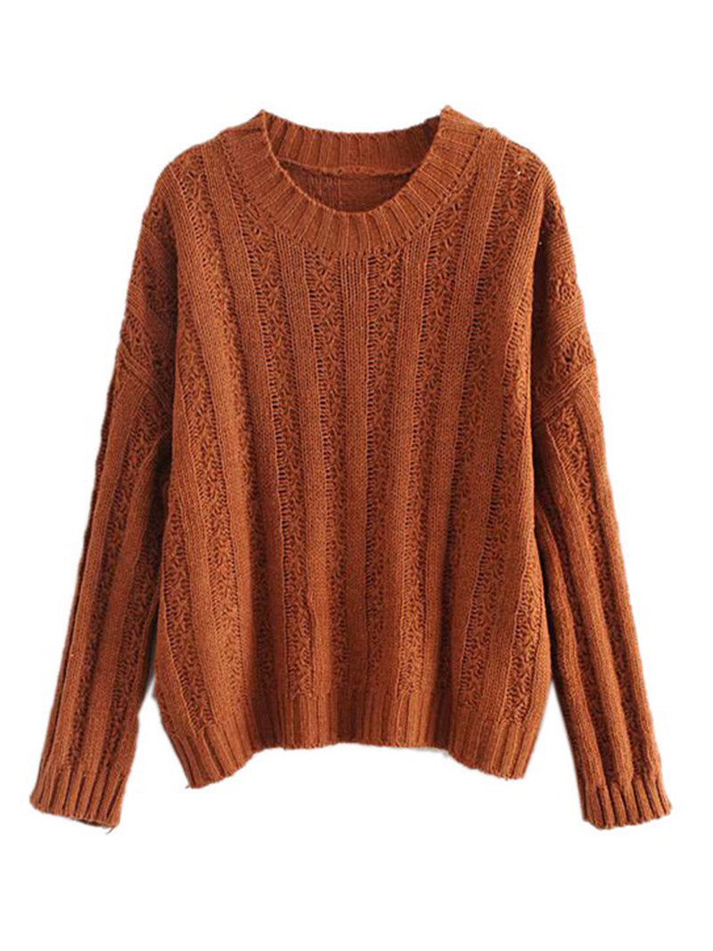 Goodnight Macaroon 'Roxy' Rib-Knitted Crew Neck Sweater Caramel Front