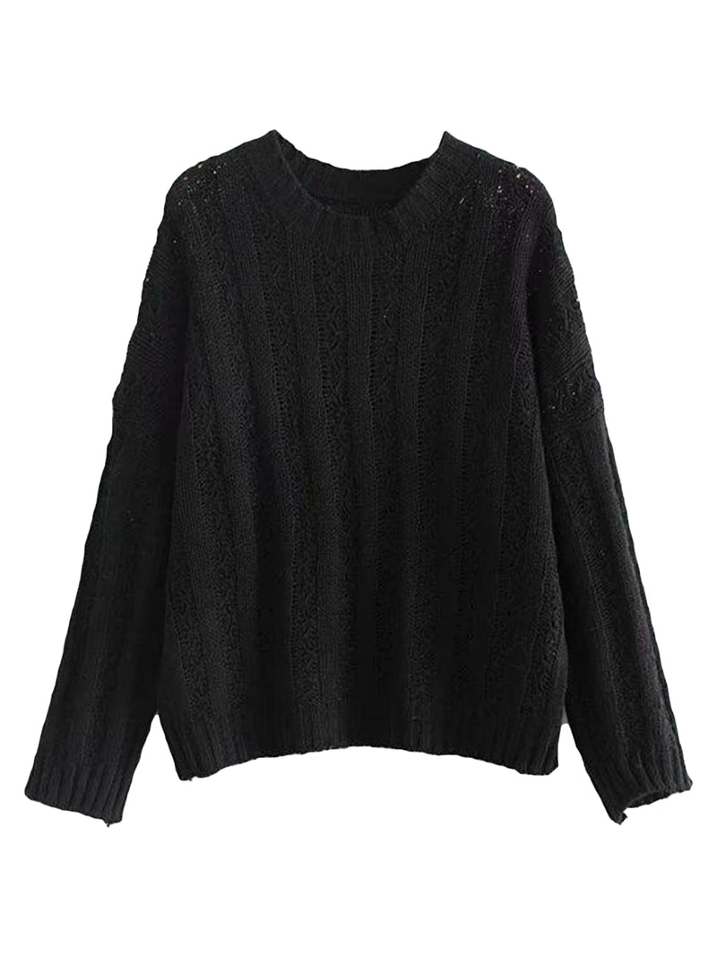 Goodnight Macaroon 'Roxy' Rib-Knitted Crew Neck Sweater Black Front