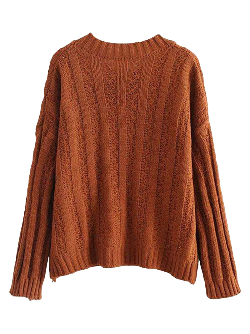 Goodnight Macaroon 'Roxy' Rib-Knitted Crew Neck Sweater Caramel Back