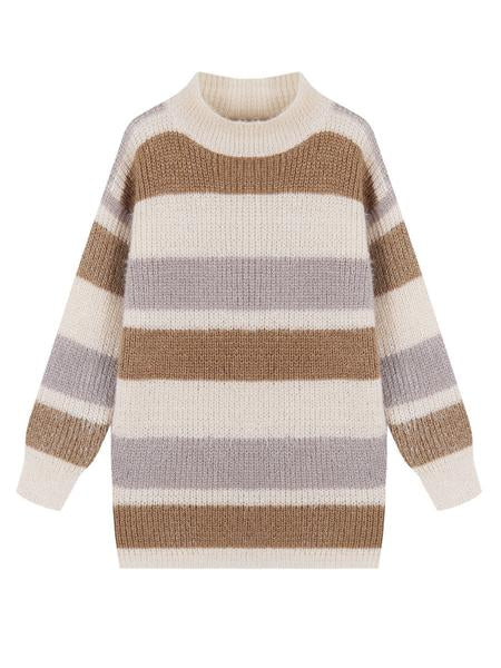 'Daria' Color Block Fluffy Sweater (2 Colors)