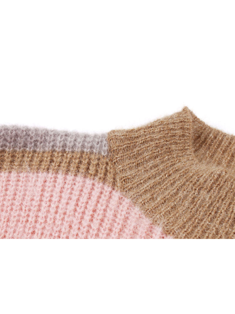 Goodnight Macaroon 'Daria' Color Block Fluffy Sweater Pink Shoulder