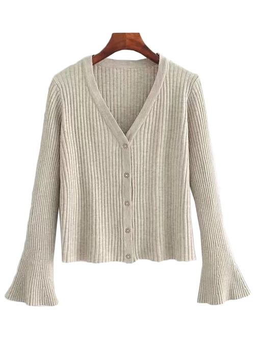 'Katlin' Flare Sleeve Knitted Cardigan (3 Colors)