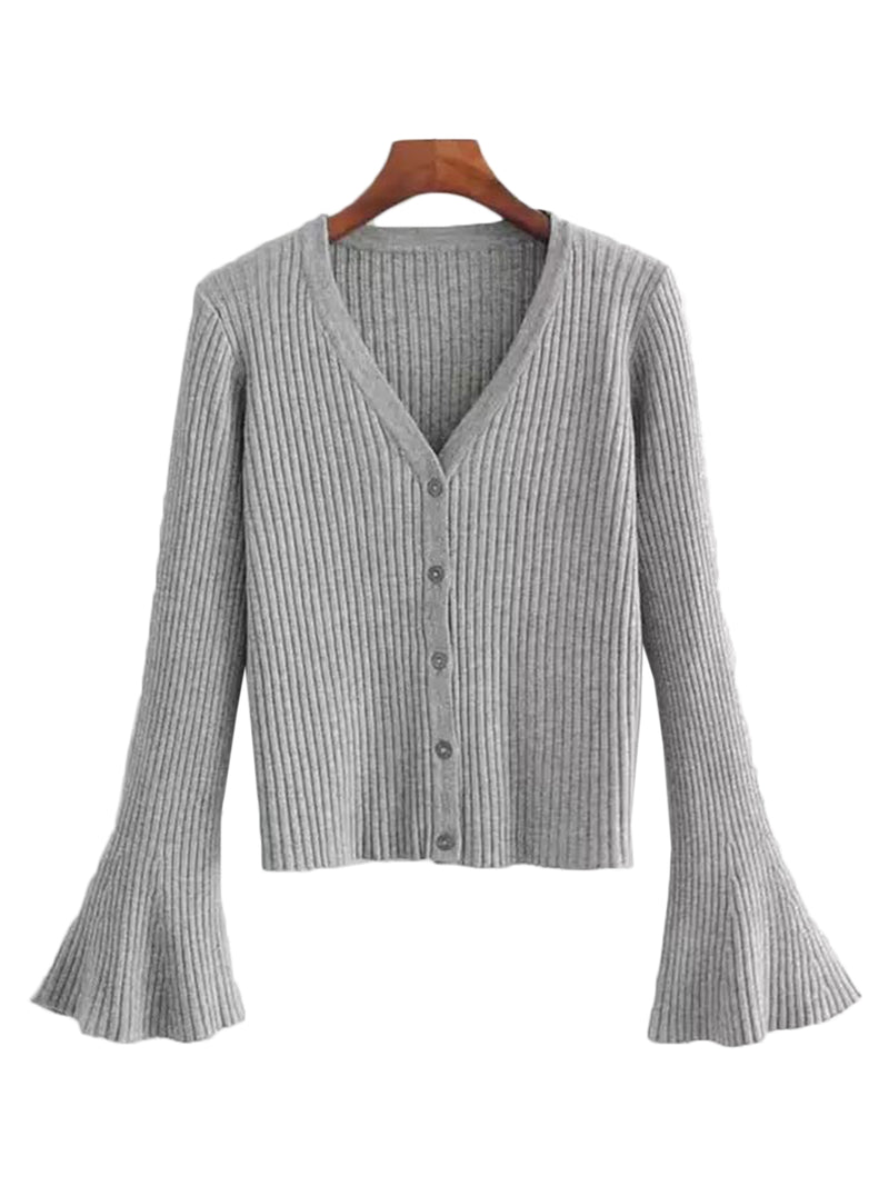 'Katlin' Flare Sleeve Knitted Cardigan (4 Colors)