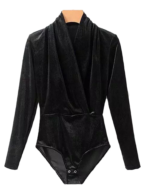 'Perri' Velvet Wrap Bodysuit (3 Colors)