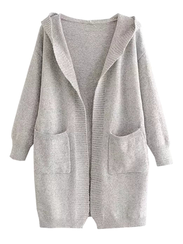 'Kandis' Knitted Hooded Pocket Cardigan (3 Colors)
