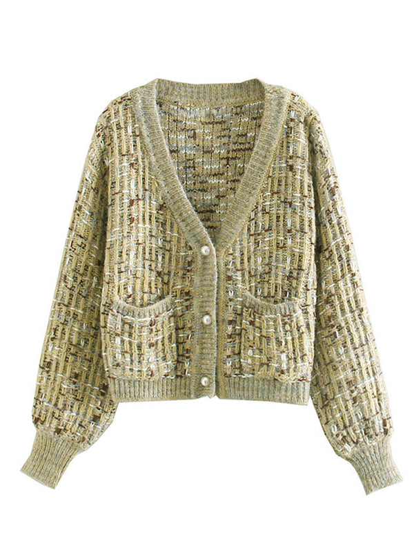 'Dale' Pearl Buttoned Mixed Knit Cardigan (3 Colors)