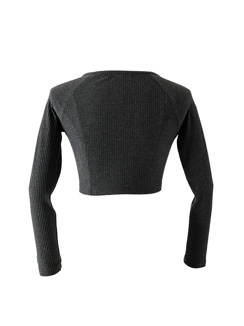 'Stephy' Ribbed Long Sleeve Cropped Top (3 Colors)