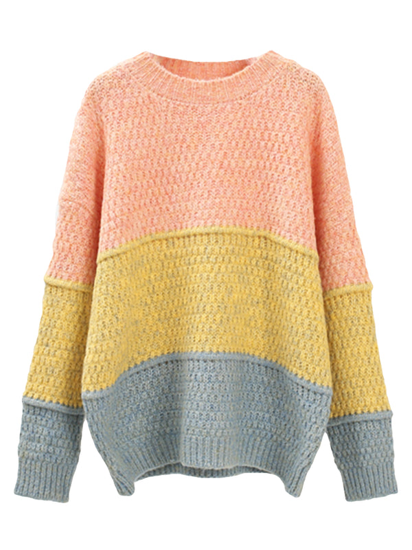 'Jacky' Colorblock Soft Rolled Sweater (3 Colors)