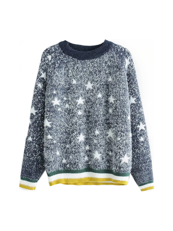 'Kelly' Star Pattern Furry Sweater